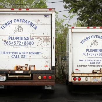 Back of work trucks