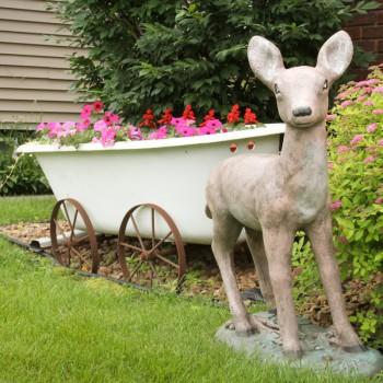 Deer and Bath tub flower pot